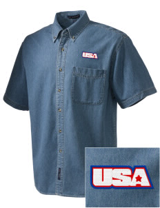 Fort Buchanan  Embroidered Men's Denim Short Sleeve