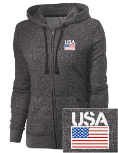 Camp Casey Embroidered Women's Marled Full-Zip Hooded Sweatshirt