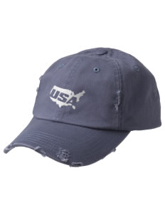 Elizabeth City CG Support Center Embroidered Distressed Cap