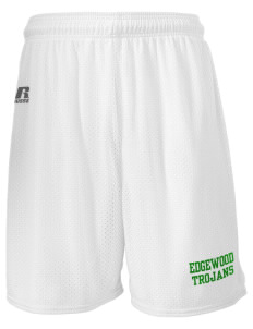 "Edgewood High School Trojans  Russell Men's Mesh Shorts, 7"" Inseam"