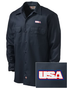 USS San Antonio Embroidered Dickies Men's Long-Sleeve Workshirt