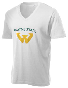 Wayne State University Warriors Alternative Men's 3.7 oz Basic V-Neck T-Shirt
