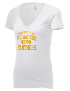 University of Wisconsin-Milwaukee Panthers Women's 4.2 oz Jersey Deep V-Neck T-Shirt