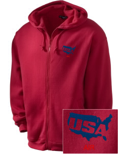 Air National Guard Embroidered Men's Zip-Up Hooded Sweatshirt with Matching Zipper