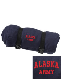 Alaska Army National Guard Embroidered Fleece Blanket with Strap