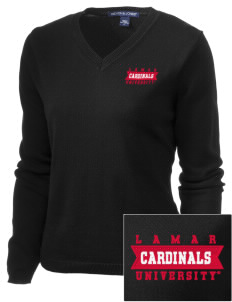 Lamar University Cardinals Embroidered Women's V-Neck Sweater