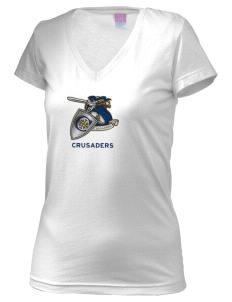 Christendom College Crusaders Juniors' Fine Jersey V-Neck Longer Length T-shirt