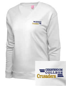 Christendom College Crusaders Embroidered Women's French Terry V-Neck Pullover