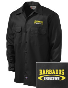 Barbados Embroidered Dickies Men's Long-Sleeve Workshirt