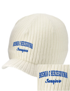 Bosnia & Herzegovina Embroidered Knit Beanie with Visor