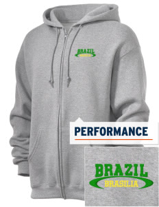 Brazil  Embroidered Russell Dri-Power Fleece Full Zip Hooded Sweatshirt