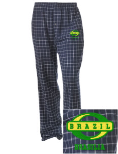 Brazil Embroidered Unisex Button-Fly Collegiate Flannel Pant