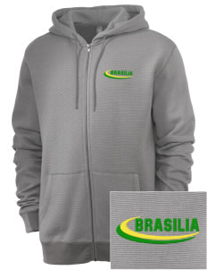 Brazil Embroidered Men's Mini Stripe Full Zip Hooded Sweatshirt