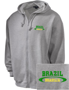 Brazil Embroidered Men's Zip-Up Hooded Sweatshirt with Matching Zipper
