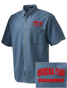 Burkina Faso  Embroidered Men's Denim Short Sleeve