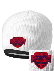 Cambodia Embroidered Champion Striped Knit Beanie