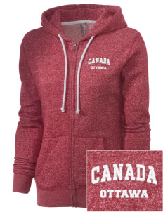 Canada Embroidered Women's Marled Full-Zip Hooded Sweatshirt