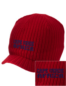 Cape Verde Embroidered Knit Beanie with Visor