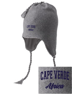 Cape Verde Embroidered Knit Hat with Earflaps
