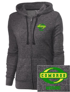 Comoros Embroidered Women's Marled Full-Zip Hooded Sweatshirt
