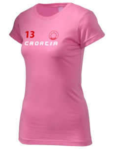 Croatia  Juniors' Fine Jersey Longer Length T-Shirt