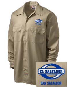 El Salvador Embroidered Dickies Men's Long-Sleeve Workshirt