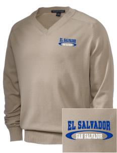 El Salvador Embroidered Men's V-Neck Sweater
