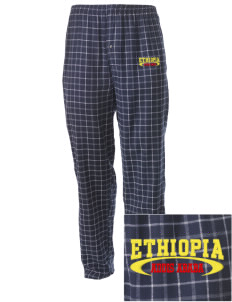Ethiopia Embroidered Men's Button-Fly Collegiate Flannel Pant