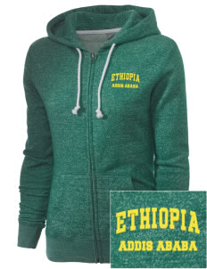 Ethiopia Embroidered Women's Marled Full-Zip Hooded Sweatshirt