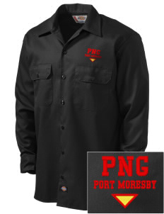 Papua New Guinea Embroidered Dickies Men's Long-Sleeve Workshirt