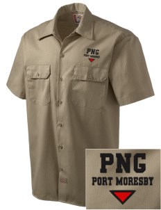 Papua New Guinea Embroidered Dickies Men's Short-Sleeve Workshirt