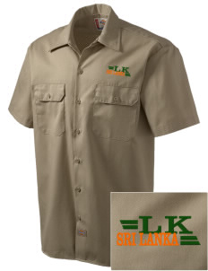 Sri Lanka Embroidered Dickies Men's Short-Sleeve Workshirt