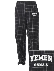 Yemen Embroidered Men's Button-Fly Collegiate Flannel Pant