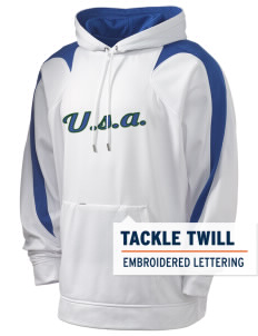 Delaware Holloway Men's Sports Fleece Hooded Sweatshirt with Tackle Twill