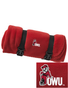 Ohio Wesleyan University Battling Bishops Embroidered Fleece Blanket with Strap
