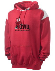 Ohio Wesleyan University Battling Bishops Men's Pullover Hooded Sweatshirt with Contrast Color