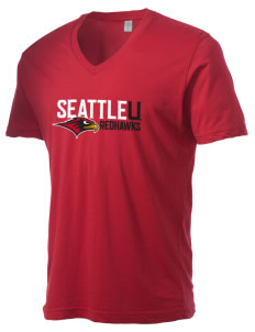 Seattle University Redhawks Alternative Men's 3.7 oz Basic V-Neck T-Shirt