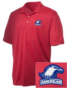 American University Eagles Embroidered Men's Double Mesh Polo