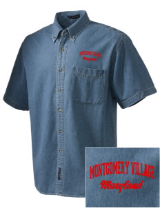Montgomery Village  Embroidered Men's Denim Short Sleeve