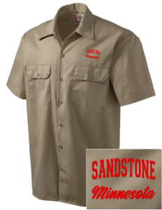 Sandstone Embroidered Dickies Men's Short-Sleeve Workshirt