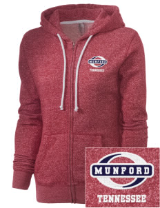 Munford Embroidered Women's Marled Full-Zip Hooded Sweatshirt
