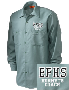 Enosburg Falls Middle High School Hornets Embroidered Men's Industrial Work Shirt - Regular