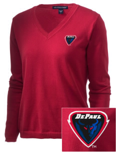 DePaul University Blue Demons Embroidered Women's V-Neck Sweater