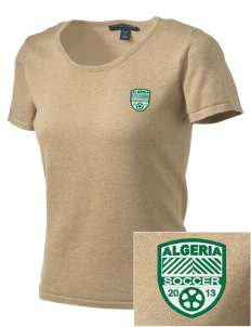 Algeria Soccer Embroidered Women's Fine-Gauge Scoop Neck Sweater