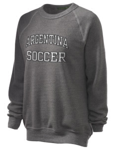Argentina Soccer Unisex Alternative Eco-Fleece Raglan Sweatshirt with Distressed Applique