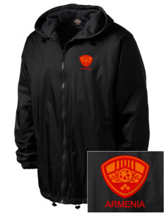 Armenia Soccer Embroidered Dickies Men's Fleece-Lined Hooded Jacket