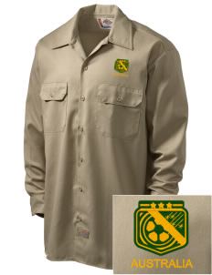 Australia Soccer Embroidered Dickies Men's Long-Sleeve Workshirt