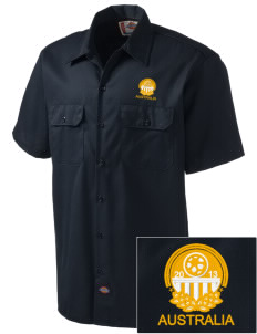 Australia Soccer Embroidered Dickies Men's Short-Sleeve Workshirt