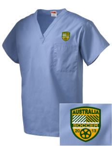 Australia Soccer Embroidered V-Neck Scrub Top