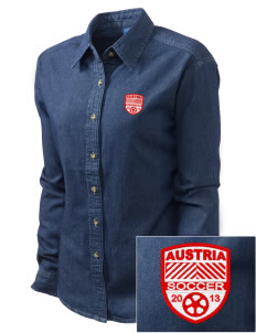 Austria Soccer Embroidered Women's Long-Sleeve Denim Shirt
